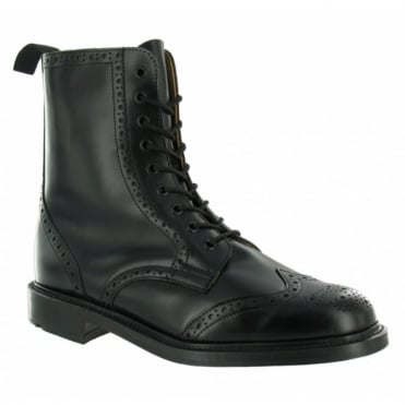 N.P.S LS910BK Mens Leather Brogue Hand Made Boots - Black