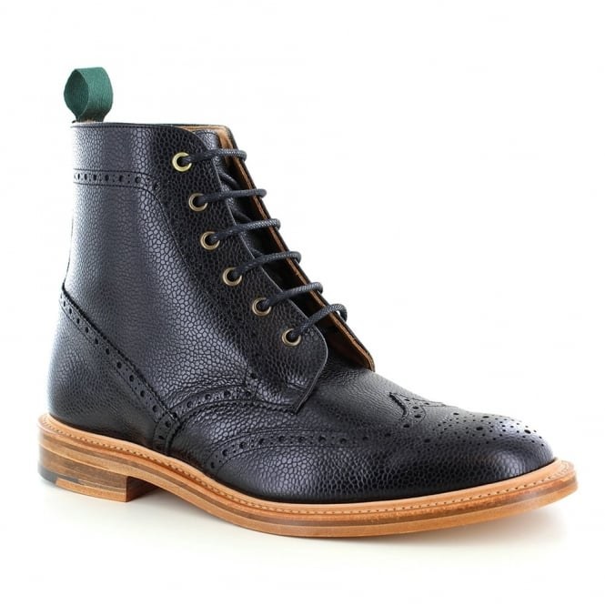 NPS Heritage 019-157 Mens Leather Wing-Tip Brogue Boots - Classic Black