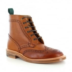 NPS Heritage 019-158 Mens Leather Wing-Tip Brogue Boots - Mahogany Brown