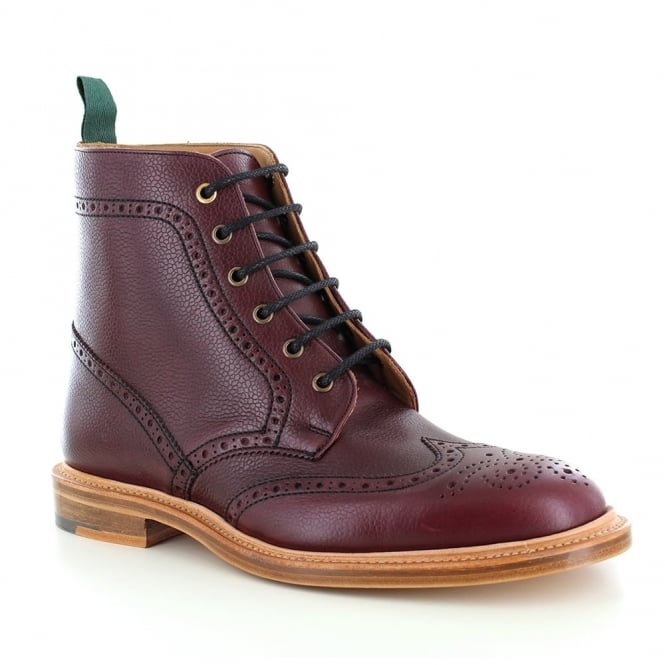 NPS Heritage 019-163 Mens Leather Wing-Tip Brogue Boots - Burgundy Wine Red