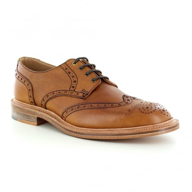 NPS Heritage 055-055 Mens Leather Wing-Tip Brogue Shoes - Mahogany Brown