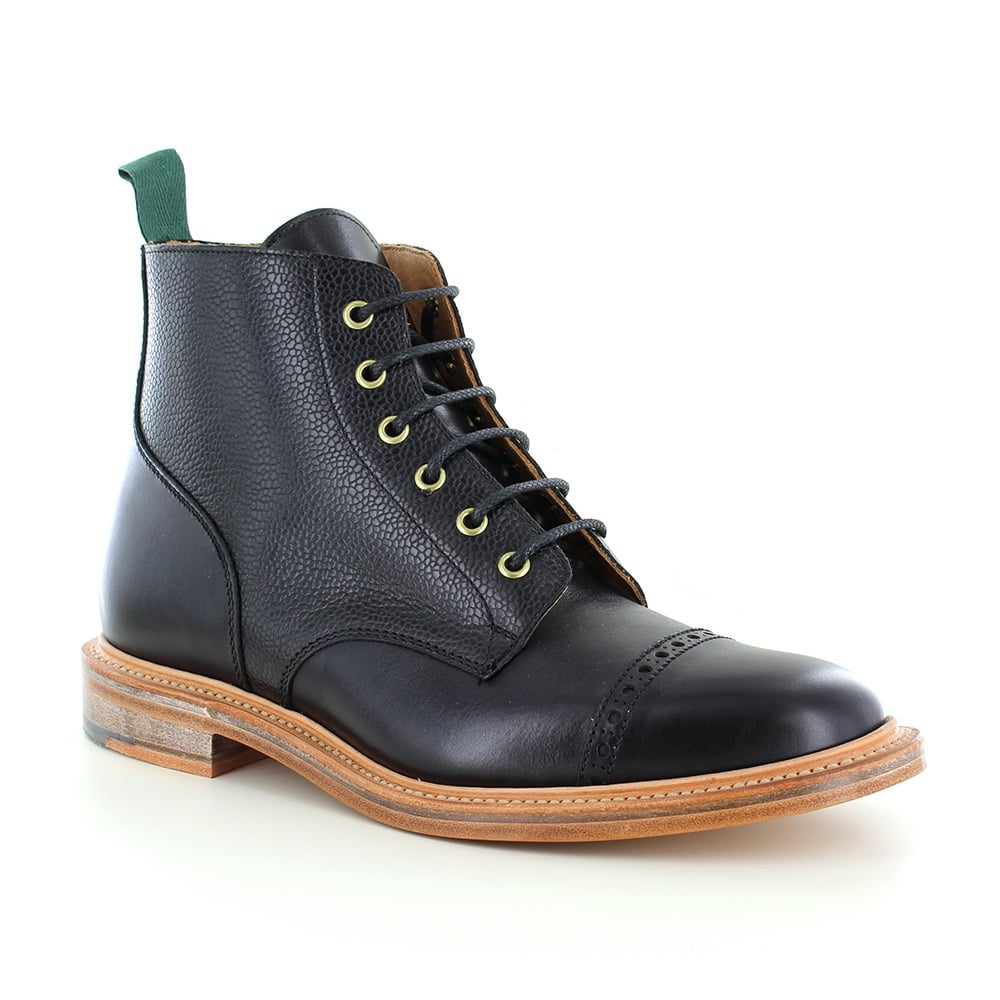 9b2bb66a088 Heritage 477-003 Mens Made in Britain Leather 6-Eyelet Derby Boots - Black