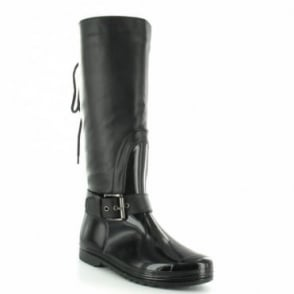 Odeon LB8287BB0A Womens Tall Flat Rain Boots - Black