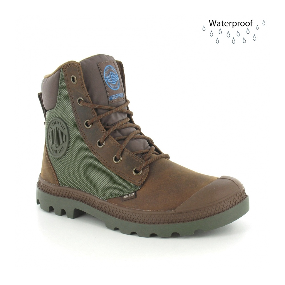 Palladium Pampa Sports Cuff WP2 Womens Waterproof Ankle Boots - Brown  amp   Olive Green dc1cc2613