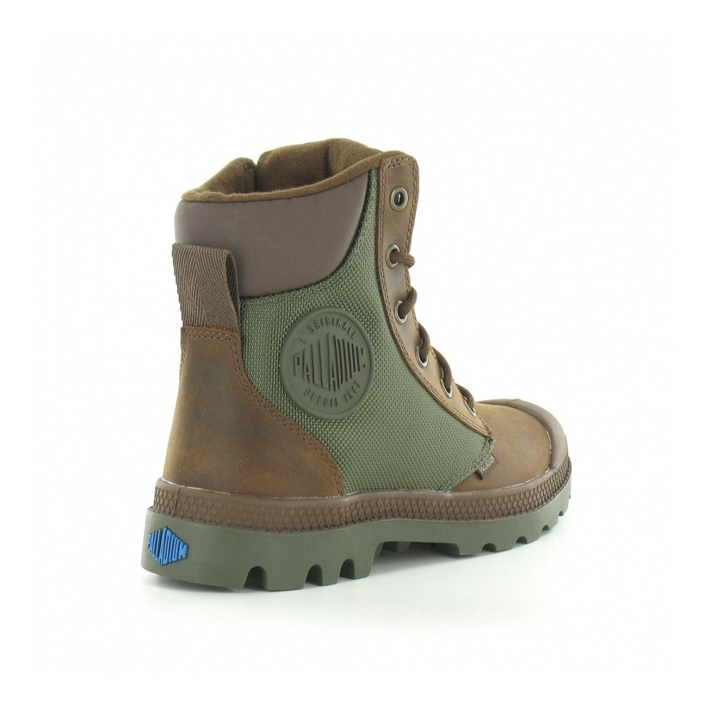 Palladium Pampa Sports Cuff WP2 Womens Waterproof Ankle Boots - Brown &  Olive Green