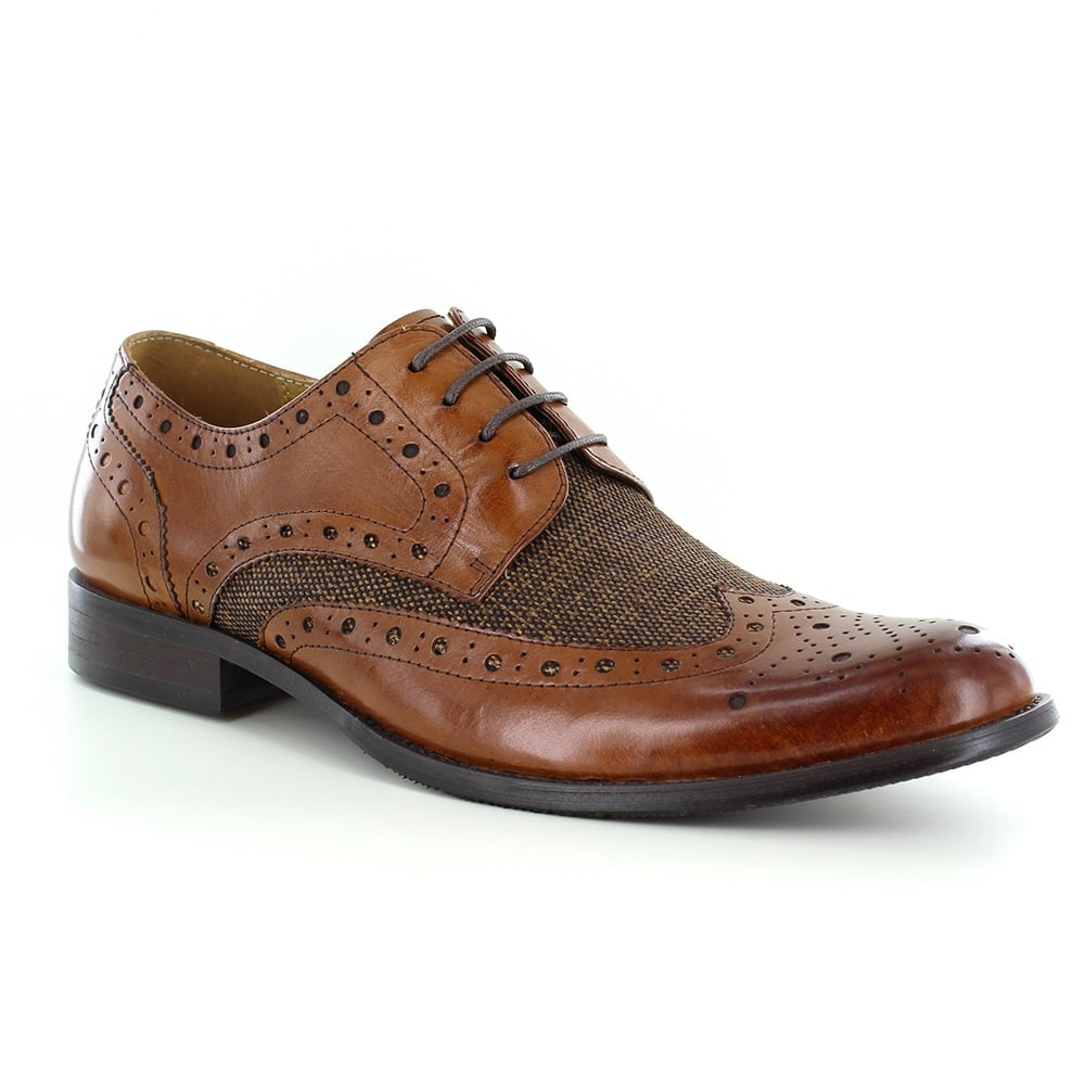 59a6050c8ff Naughton Mens Premium Leather & Tweed Brogue Shoes - Brown