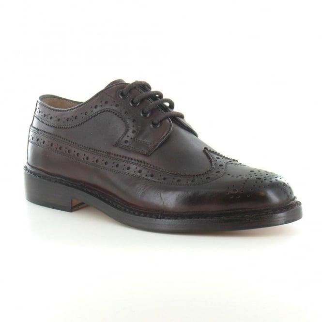 Paolo Vandini George Mens Premium Leather Brogue 4-Eyelet Shoes - Bordo