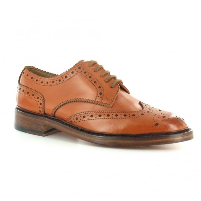 Paolo Vandini Gladstone Mens Premium Leather Brogue 5-Eyelet Shoes - Tan Brown