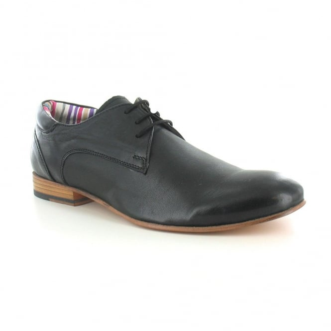 Paolo Vandini Ranger Mens Leather Derby Lace Up Shoes - Black