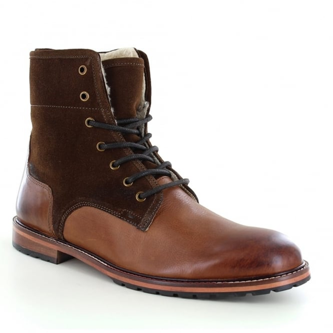 Paolo Vandini Pipers Mens Warm Leather Lace-Up Boots - Brown