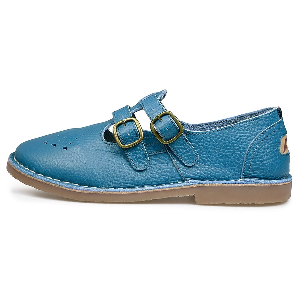 Pod Marley Womens Leather 2 Strap Sandals Petrol Blue