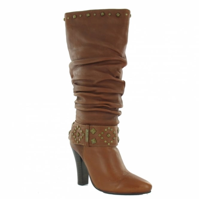 bbca9cda2feb4 Roberto Botella M3800 Womens Dressy Leather Rouched Boots - Tan ...