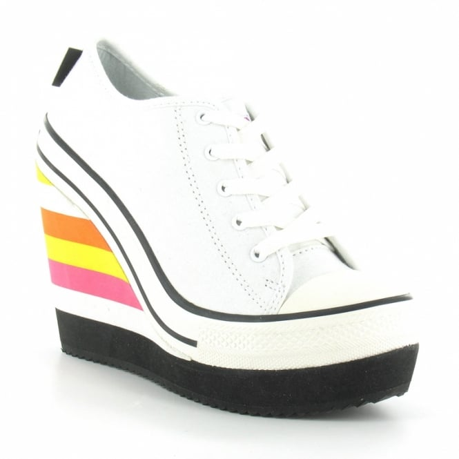 Rock Amp Candy London Zg11086 02 Womens Canvas High Wedge