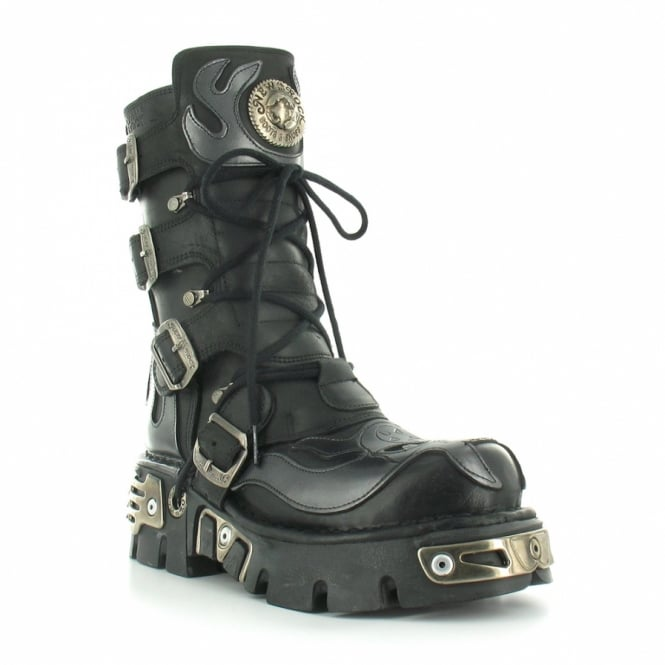 New Rock M107 Womens Leather Devil & Flame Mid-Calf Platform Boots - Black