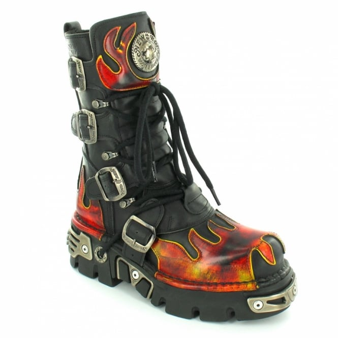 802efc592d0 New Rock M591 Reactor Womens Leather Mid-Calf Flame Platform Boots - Black  + Red