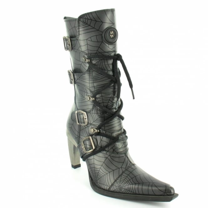 New Rock M9373 Womens Mid Calf Spider Web Pattern Boots - Silver Grey