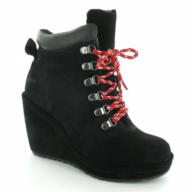 c586aeea87a Rocket Dog Banji Womens Suede 6-Eyelet Wedge Heel Hiker Ankle Boots - Black