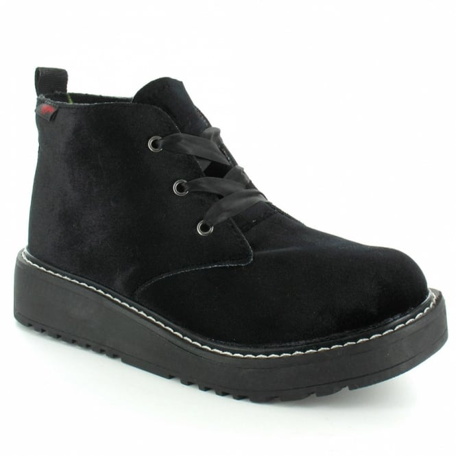 Rocket Dog Beehive Womens Velveteen Ankle Boots - Black