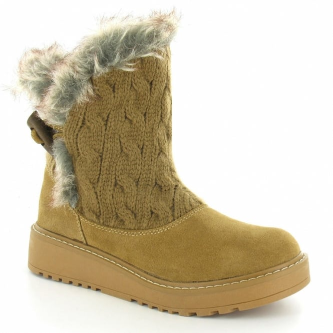 rocket bundled womens suede leather knitted faux fur