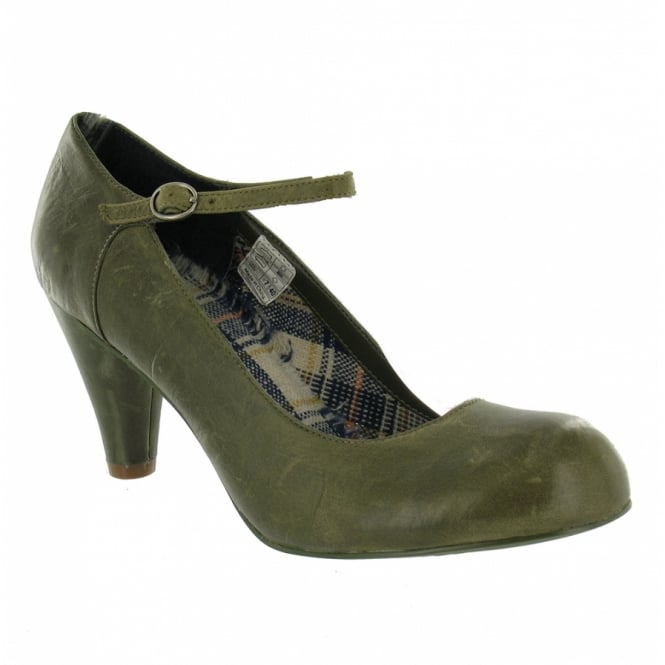 Rocket Dog Happy Womens Leather Court Shoes Olive Green