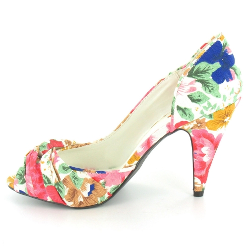 Rocket Dog Ownit Women Peep Toe Floral Print Court Shoes