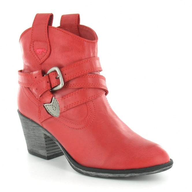 0a938f1cb16 Satire Womens Cowboy Western Pull-On Ankle Boots - Red