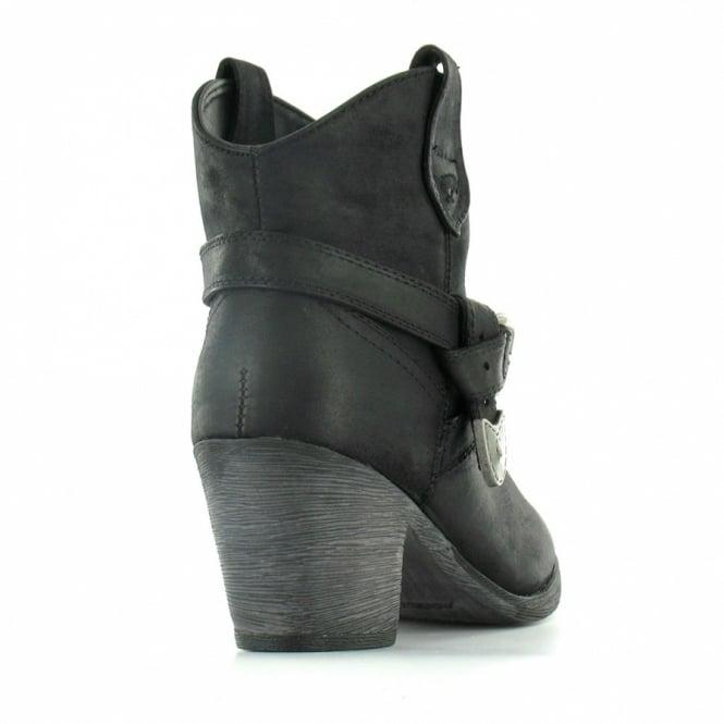 ca1e28257eb Satire Womens Rider Fabric Western Style Ankle Boots - Black