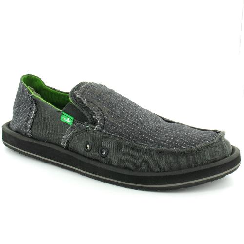 sanuk sanuk kerouac mens canvas slip on shoes black