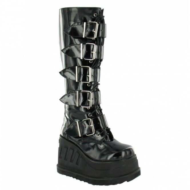 Sella Stella Thumper Platform Boots - Black Patent