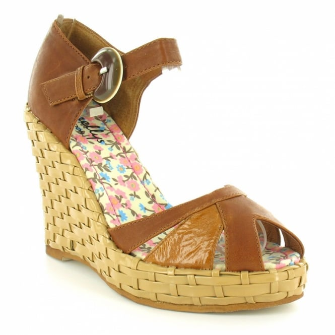 63e6fc13d1dc Shellys St Lucas Womens Leather Basket Weave High Wedge Heel Platform Peep-Toe  Ankle Strap