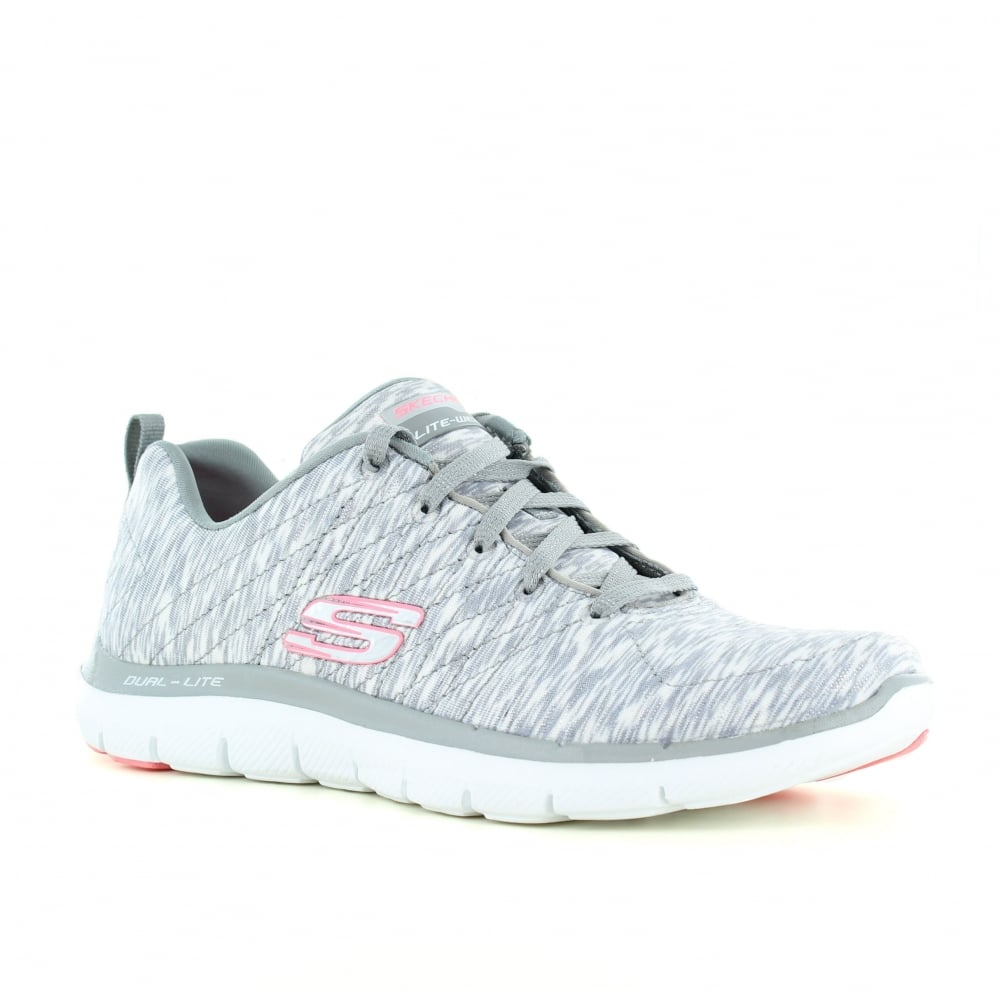 new products a5d2c b25a8 Skechers Flex Appeal 2.0 Reflection - Womens Trainers - Grey and White