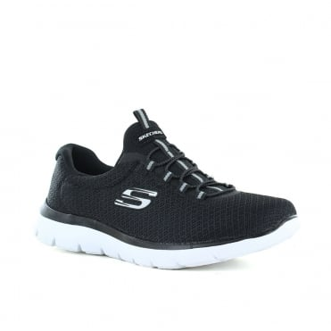 Skechers Summits Womens Slip-On Trainers - Black And White