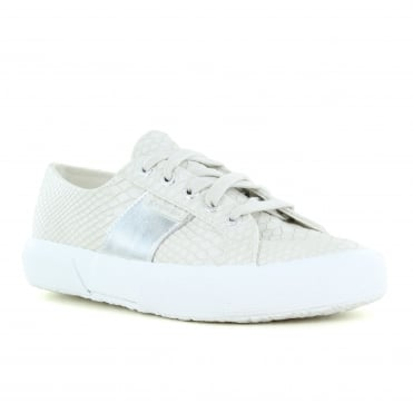 Superga PU Snake Womens Fashion Trainers - Light Grey