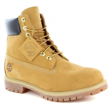 Timberland® 10061 Mens Padded Collar 7-Eyelet Nubuck Waterproof Boots - Wheat Yellow