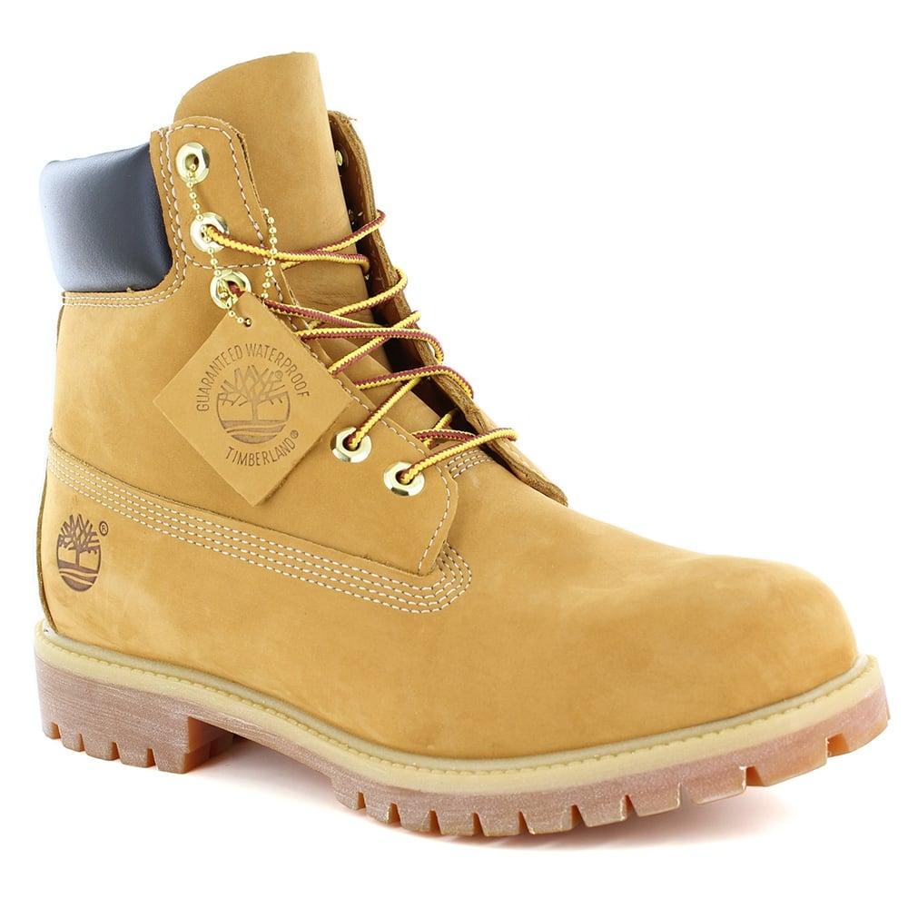 Timberland Timberland® 10061 Mens Padded Collar 7 Eyelet Nubuck Waterproof Boots Wheat Yellow