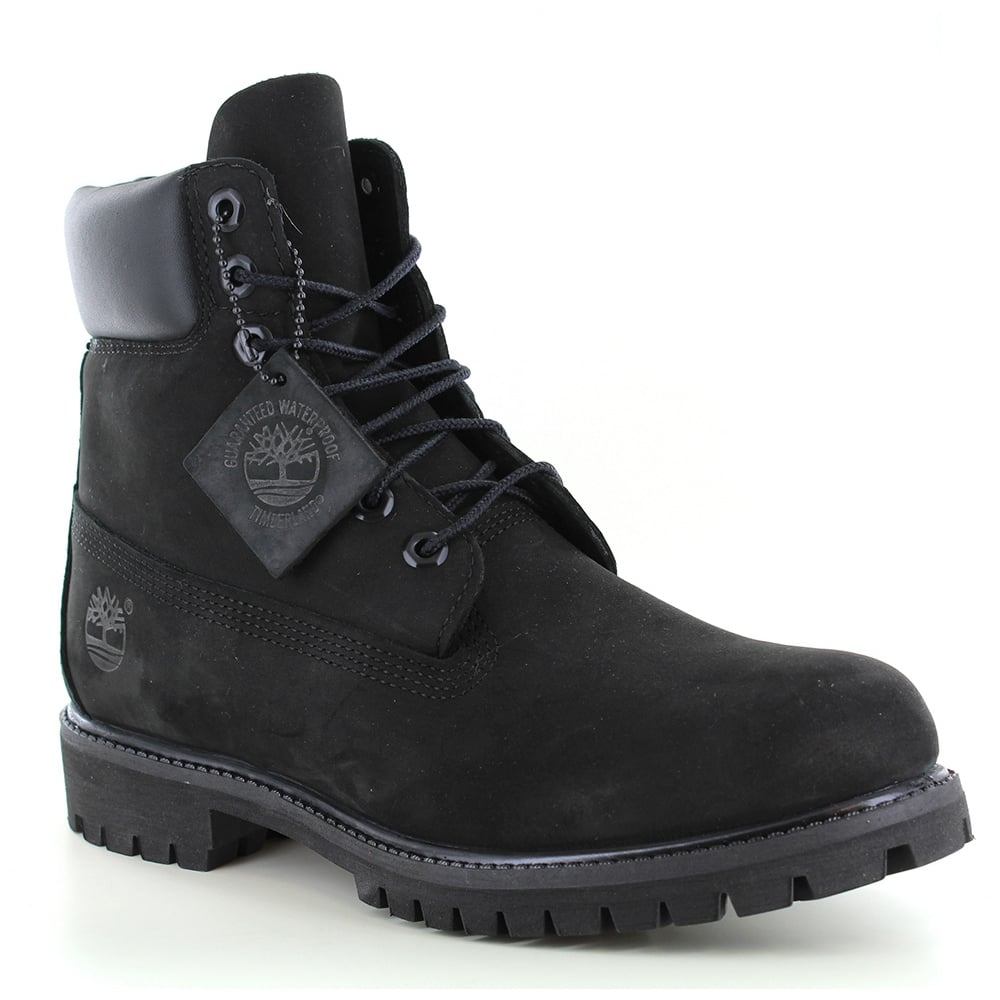 5af18fcc464a Timberland ® 10073 Mens Padded Collar 7-Eyelet Nubuck Waterproof Boots -  Black