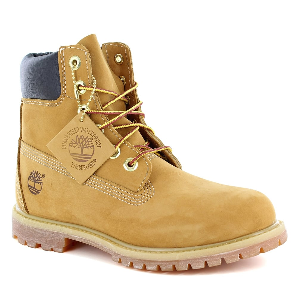 b3cd46c18871 Timberland ® 10361 Womens Padded Collar 6-Eyelet Nubuck Waterproof Boots -  Wheat Yellow