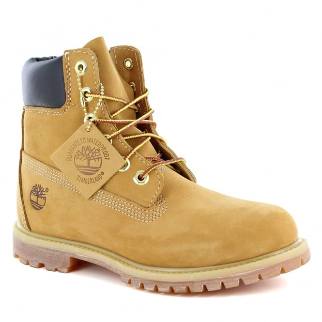 Timberland ® 10361 Womens Padded Collar 6-Eyelet Nubuck Waterproof Boots - Wheat Yellow