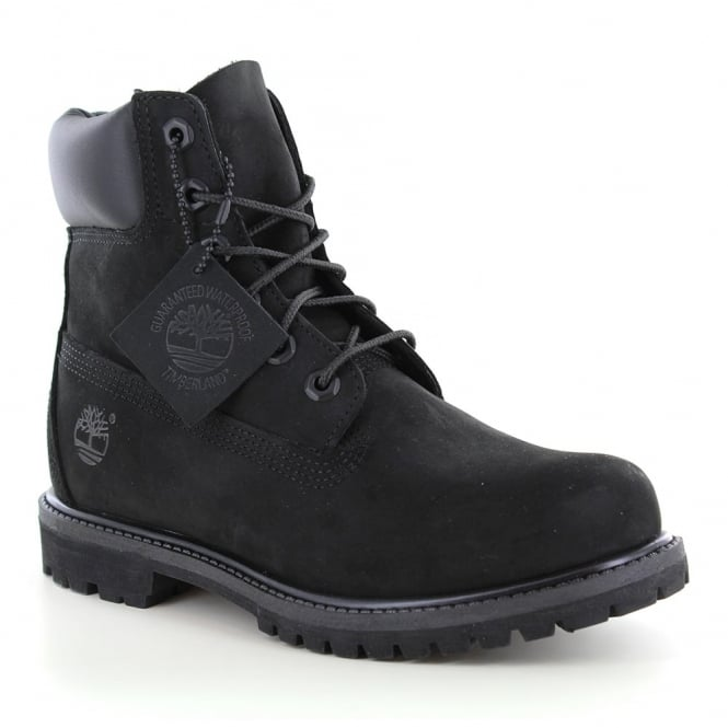 Timberland ® 8658A Womens Padded Collar 6-Eyelet Nubuck Waterproof Boots - Black