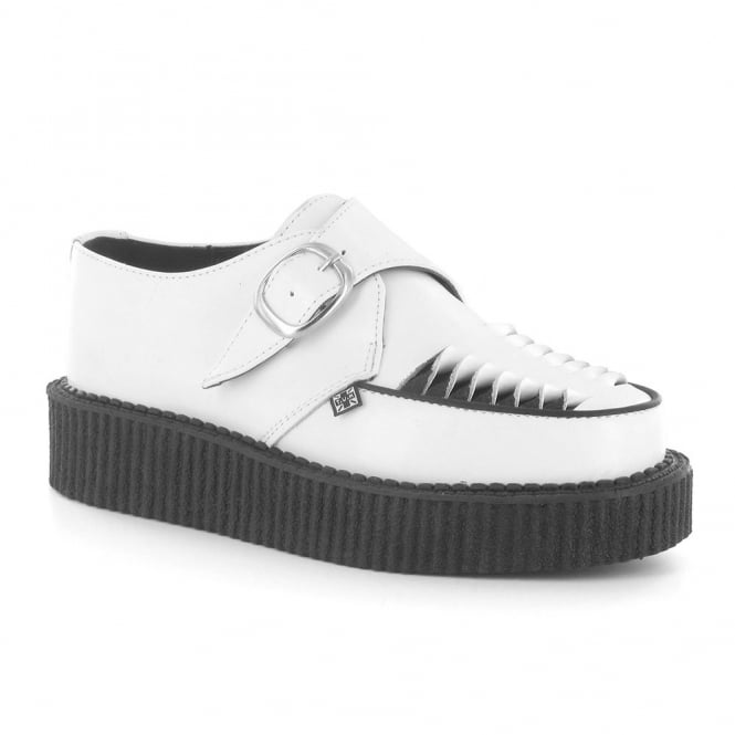 TUK A8579 Unisex Leather Round Low Creeper Shoes - White & Black