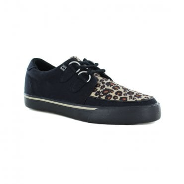TUK A9181 Black & Leopard D-Ring Vegan Creeper Sneaker