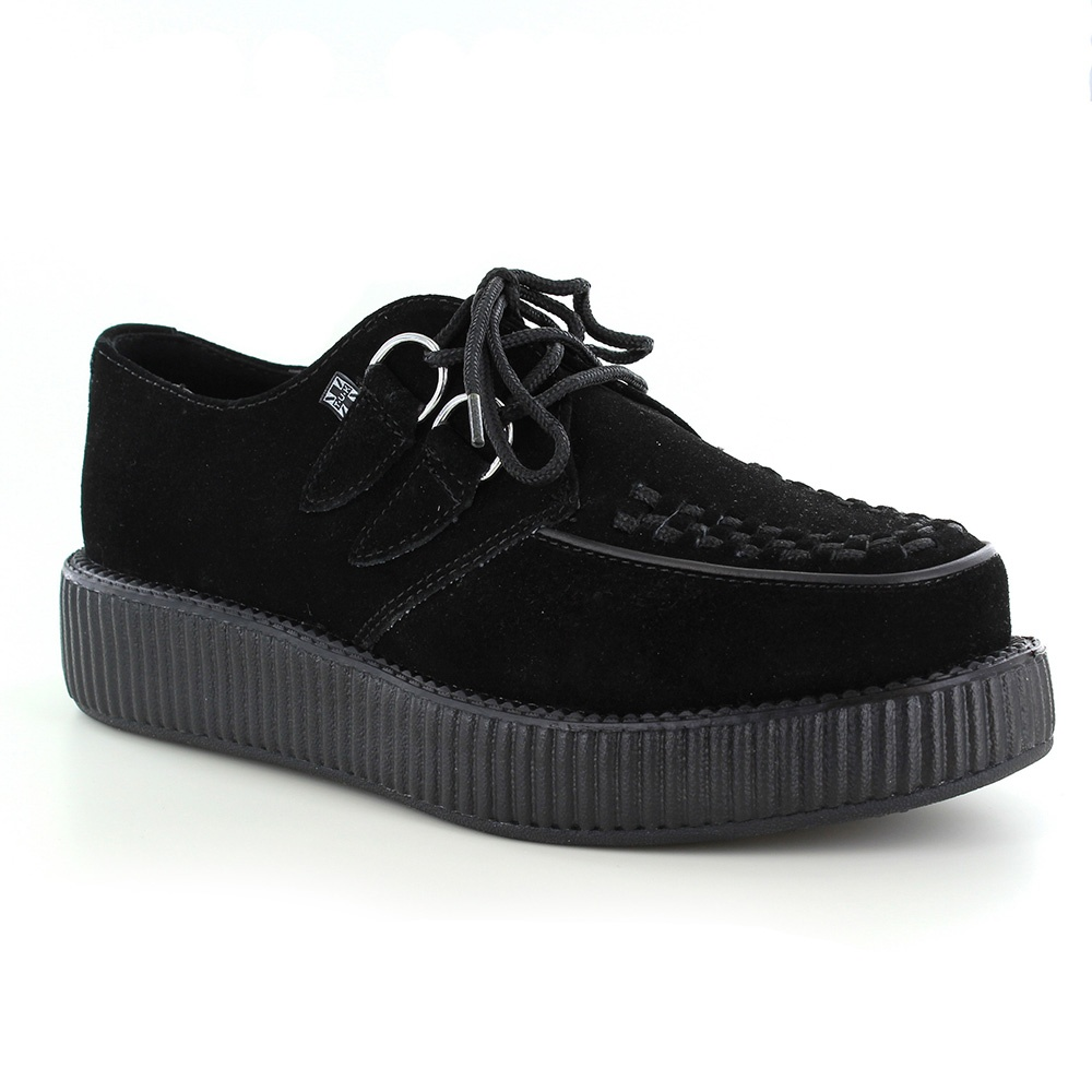 tuk v7270 unisex suede leather creeper shoes black