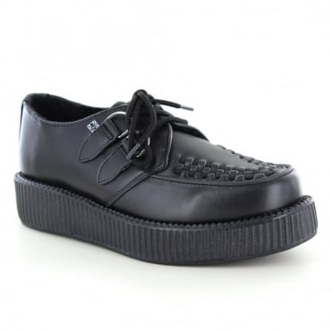TUK V9161 Unisex Leather Viva Low Creeper Shoes - Black