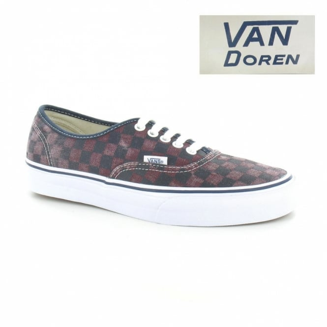 Vans Authentic Van Doren VN-0 TSV8X9 Unisex Check Skate Shoes - Port Royal & Black