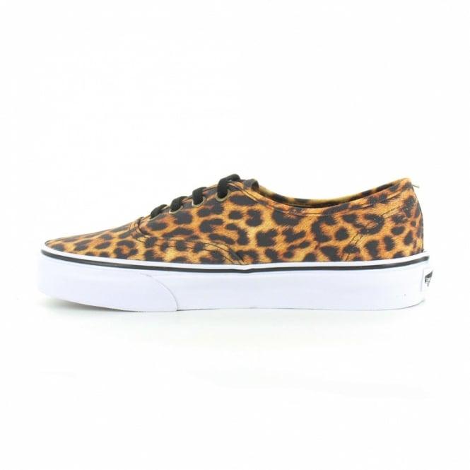 50fee6e7d3 Vans Authentic VN-0 QER69I Womens Canvas 4-Eyelet Leopard Print Shoes -  Black