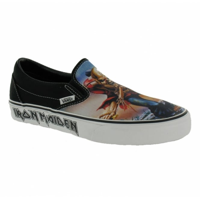 b4b47a00e570 Buy Vans Classic Slip-On Trainers Black with Iron Maiden Trooper ...