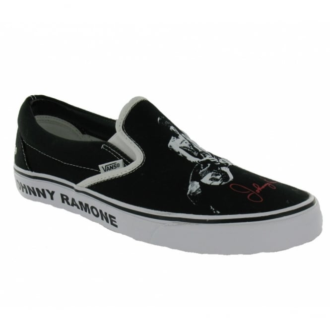 763eeedf4b3 Vans Mens Classic Slip-on Black + White Ramones Print