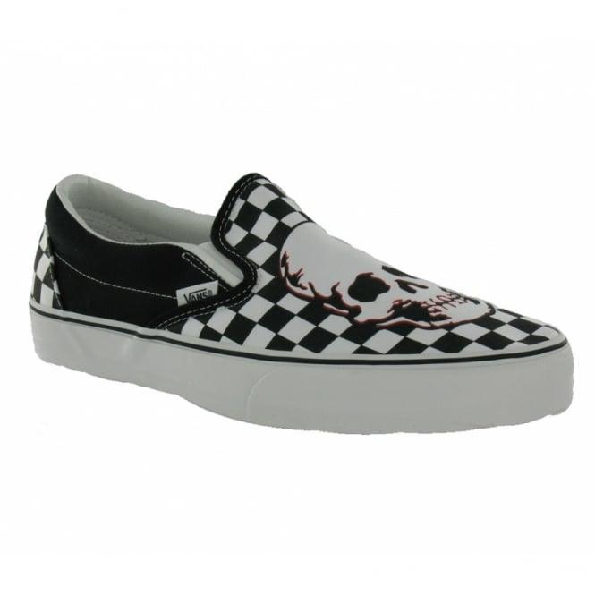 Vans Mens Classic Slip-on Black + White Checkerboard Skull cdd74582d