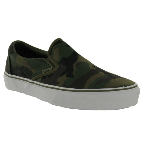 Vans Mens Classic Slip On Trainers Military Olive Camo Print