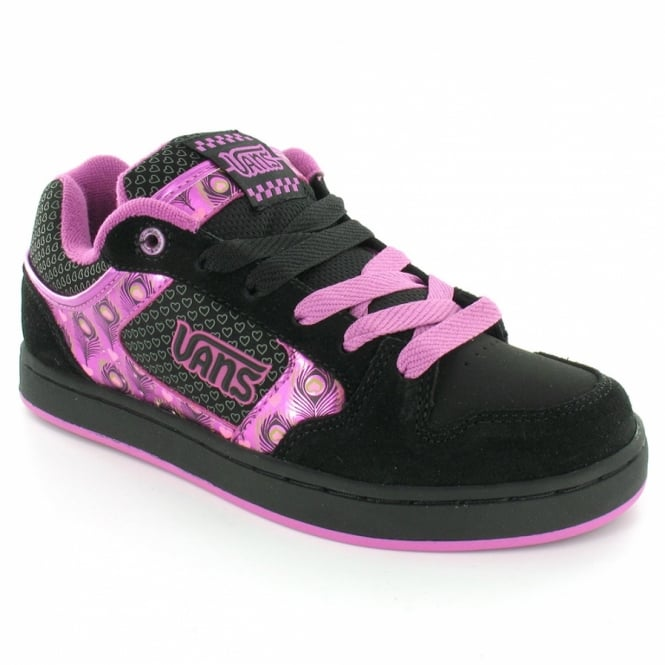9dfc7c5b830 Vans Mindi Womens Skate Trainer Shoes - Black+Purple